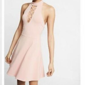 Express Dresses - Lace Up Mock Neck Fit and Flare Dress